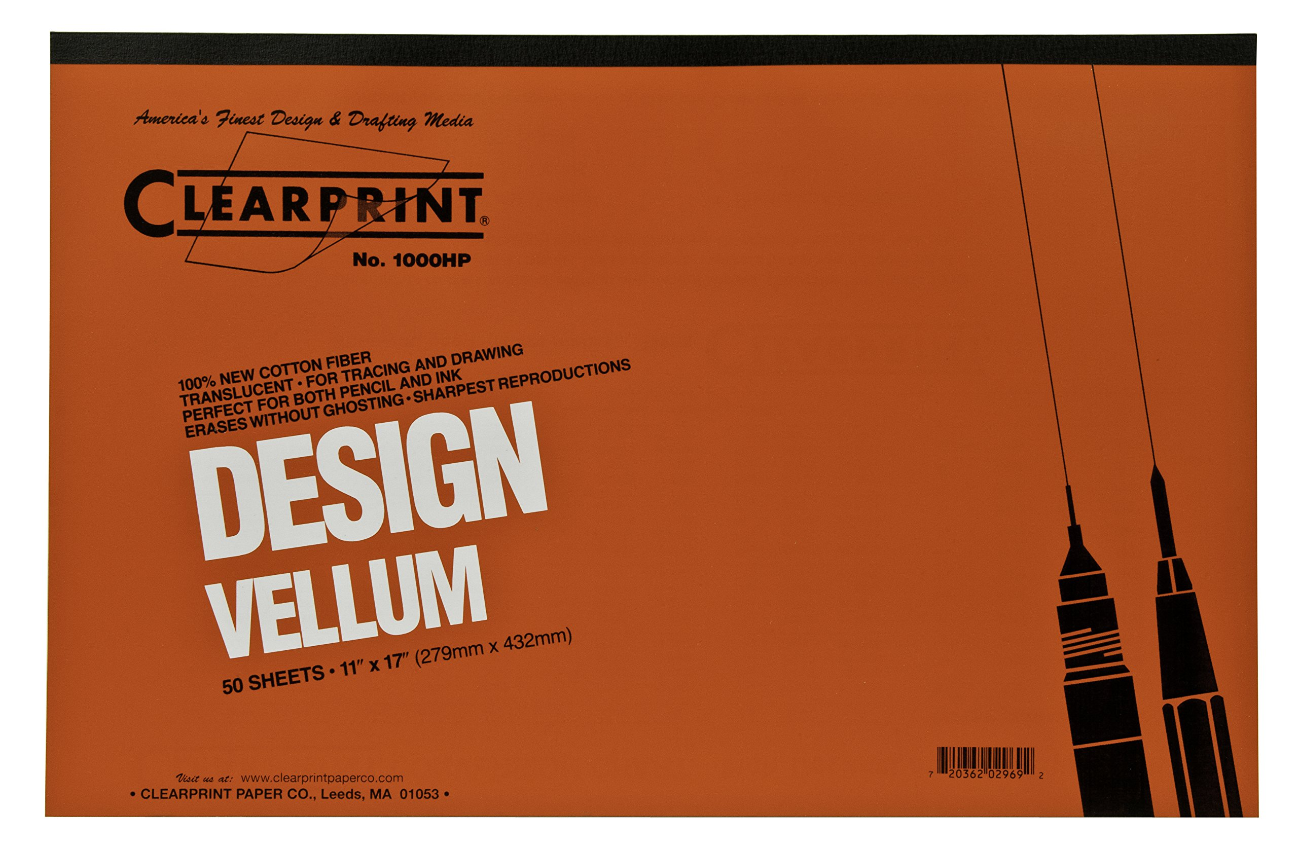 Clearprint 1000H Design Vellum Pad, 16 lb., 100% Cotton, 11 x 17 Inches, 50 Sheets, Translucent White, 1 Each (10001416)