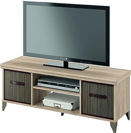 Mueble de televisión 120x40 de melamina y cestos de bambu, modulo bajo tv: Amazon.es: Hogar
