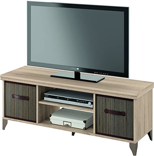 Mueble de televisión 120x40 de melamina y cestos de bambu, modulo ...