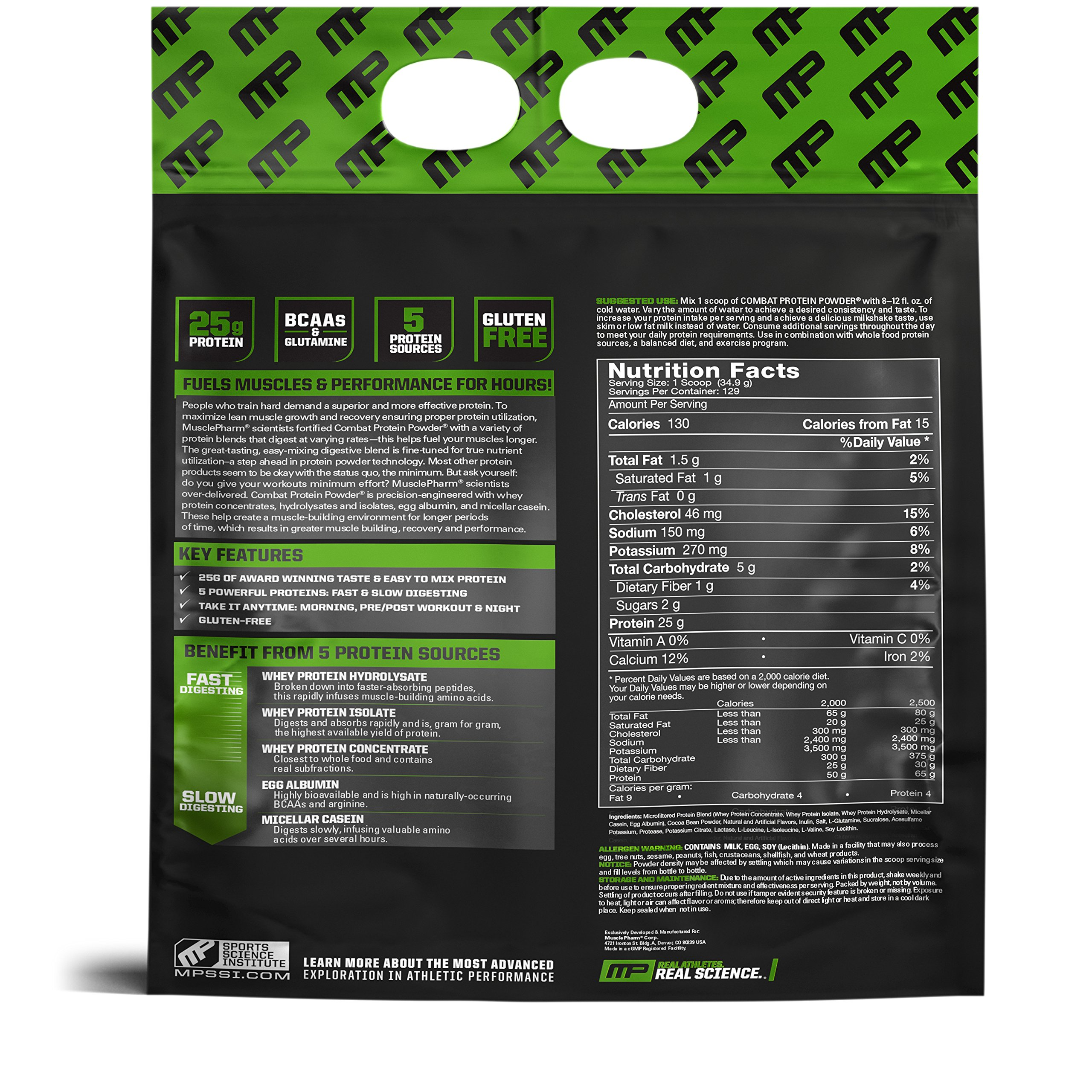MusclePharm Combat Protein Powder, Essential Whey Protein Powder, Isolate Whey Protein, Casein and Egg Protein with BCAAs and Glutamine for Recovery, Chocolate Milk, 10-Pound, 129 Servings by Muscle Pharm (Image #2)