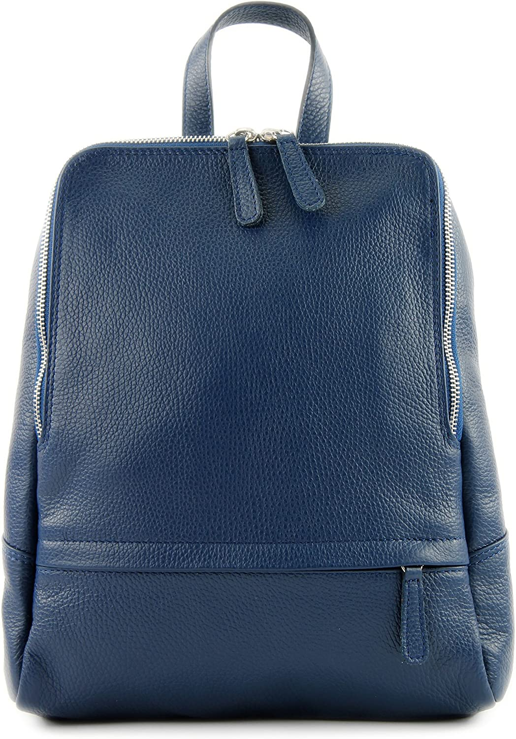 modamoda de - ital. Leather Backpack Ladies Backpack Rucksack Bag Citybag Leather T138 Jeans Blue