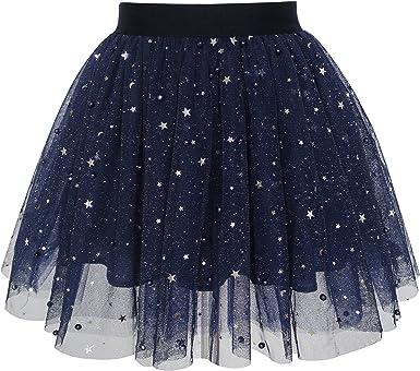 Sunny Fashion Chicas Falda Azul Marino Perla Estrellas Espumoso ...