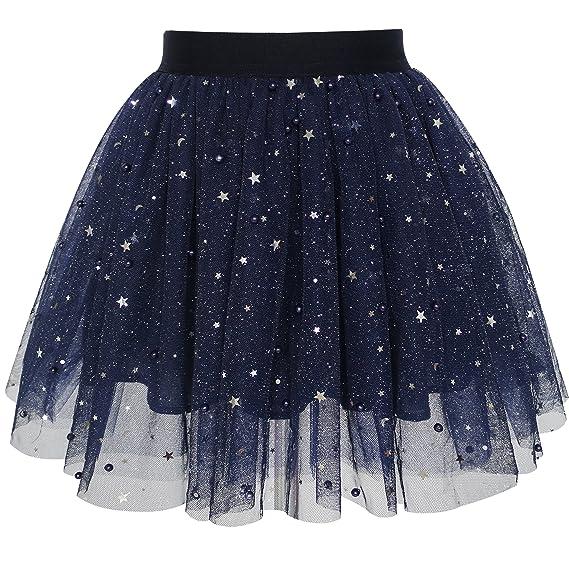 Mädchen Rock Navy blau Perle Sterne Funkelnd Tutu Tanzen Gr. 98-146