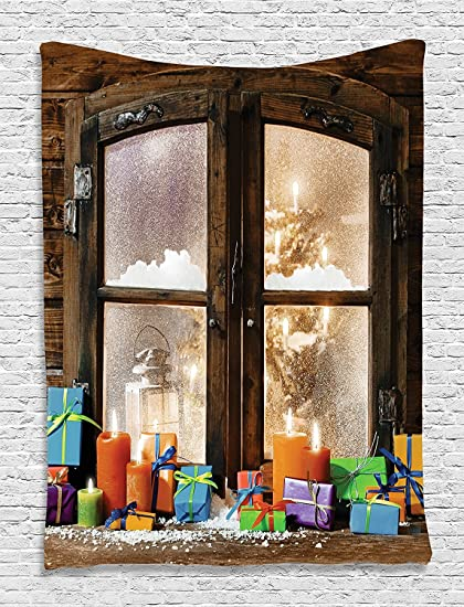 Christmas Wall Decor Colorful Candles Wooden Window Holiday Tapestry Wall  Hanging Wall Tapestry Living Room /