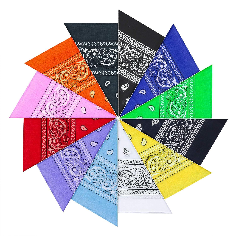 12 Pezzi Bandana per Capelli, 100% Cotone Disegno Paisley - Bandana Multiuso per Collo,Testa,Sciarpa Fazzoletti da Taschino
