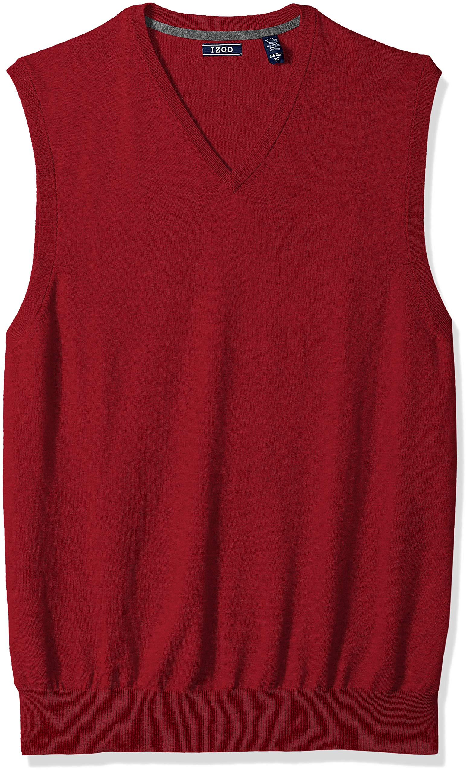 IZOD Men's Big and Tall Premium Essentials Solid V-Neck 12 Gauge Sweater Vest, New Biking red, 5X-Large
