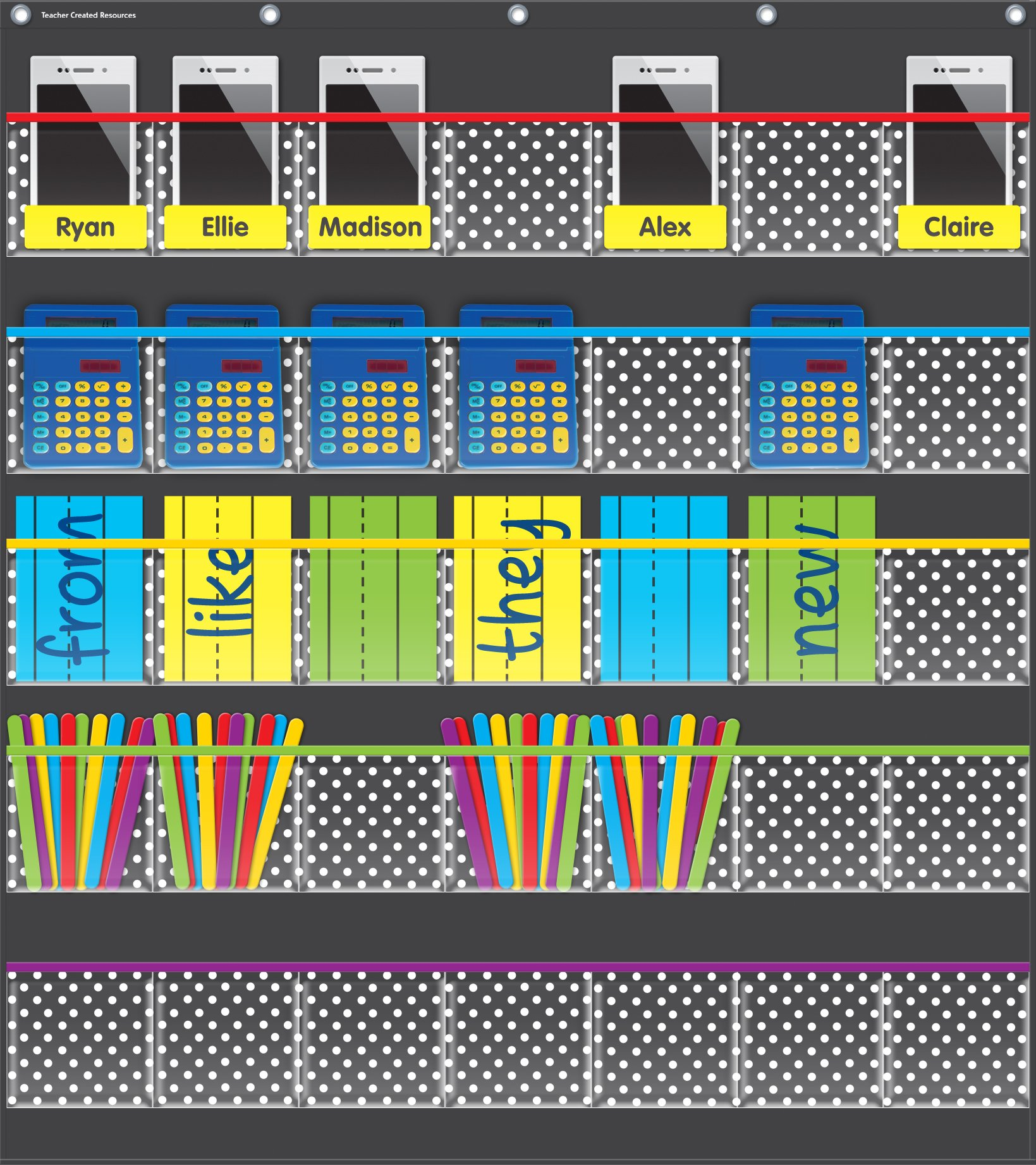 Teacher Created Resources Black Polka Dots Storage Pocket Chart (20750)