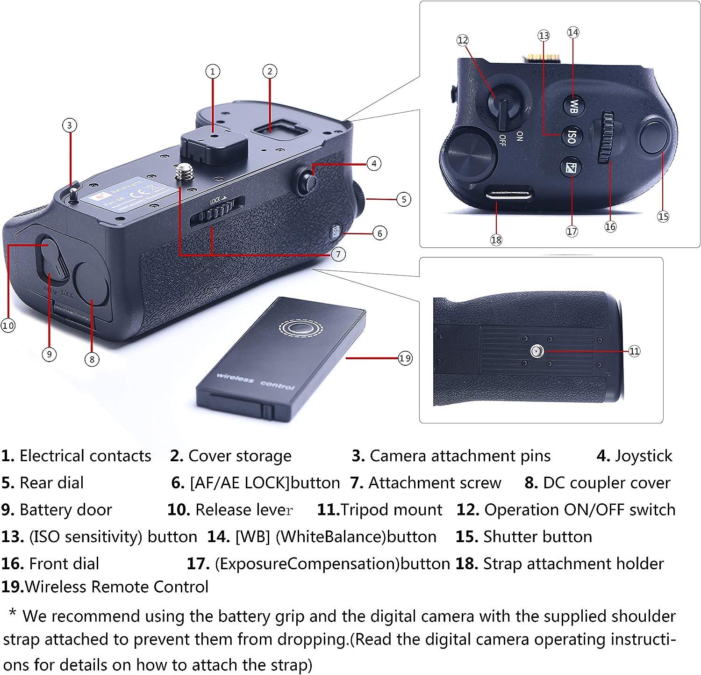 DSTE 2.4G Remote Control Vertical Battery Grip Compatible for Panasonic Lumix G9 DC-G9 DMW-BGG9 DMW-BGG9GK Camera