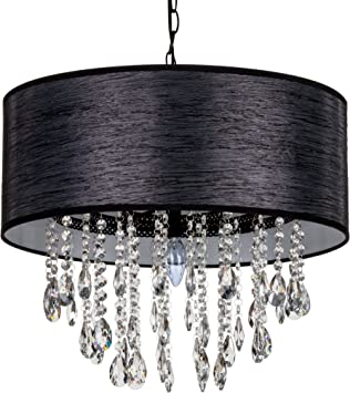 New Authentic All Black Crystal Chandelier Lighting, 5 Lights, H19