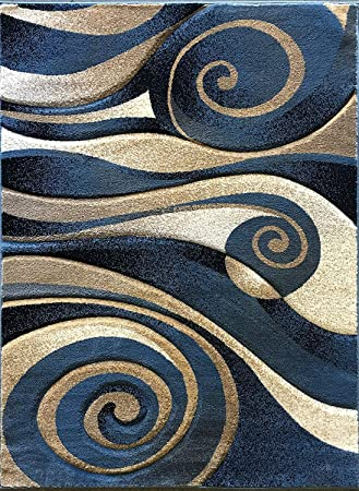 Amazon Com Modern Area Rug Contemporary Abstract Light Blue Beige Black Sculpture Carpet King Design 258 8 Feet X 10 Feet 6 Inch Kitchen Dining