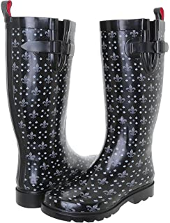 Amazon.com | Rainboots for Women - Fleur De Lis Black Size 6 ...