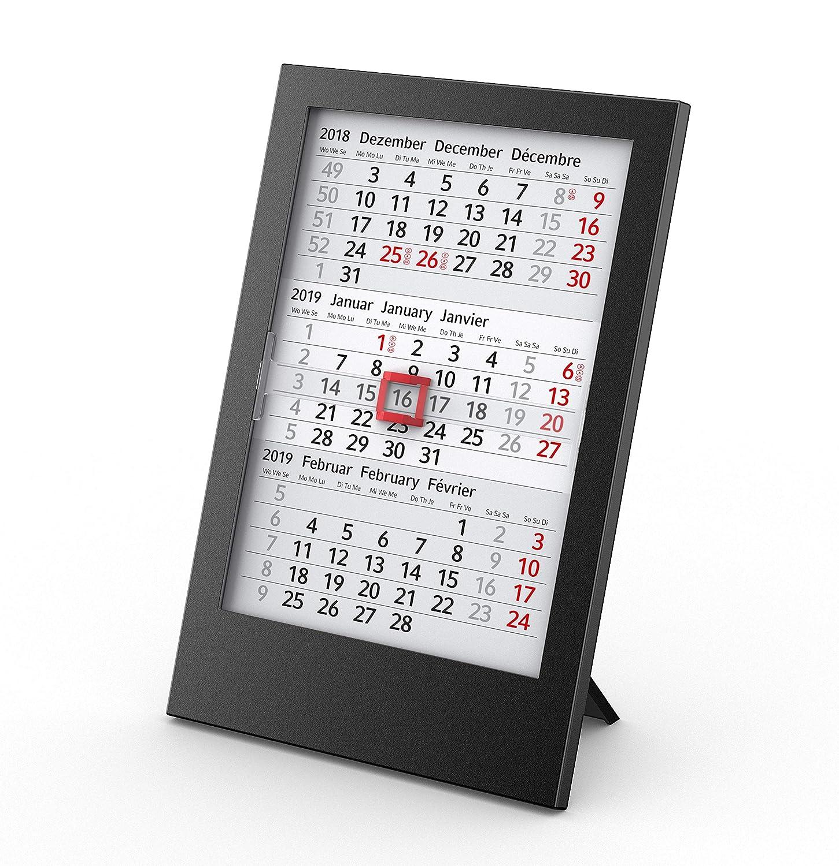 3-Monats-Tischkalender 2019 + 2020 Box - 12 x 18 cm - auswechselbare Kalenderblätter für 2 Jahre in schwarzer Kunststoff-Box mit Aufsteller/Business-Kalender - Made in Germany by Geiger-Notes Geiger-Notes AG