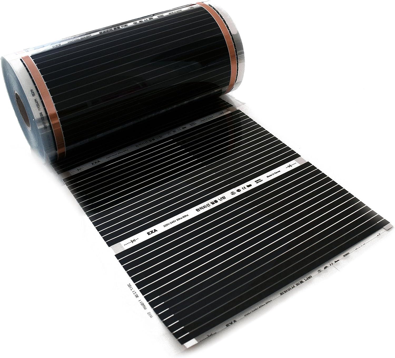 Elektrische Infrarotheizung Fu/ßbodenheizung Laminatheizung Infrarot Fu/ßbodenheizung 220 Watt Rollenware 15,0 m/²