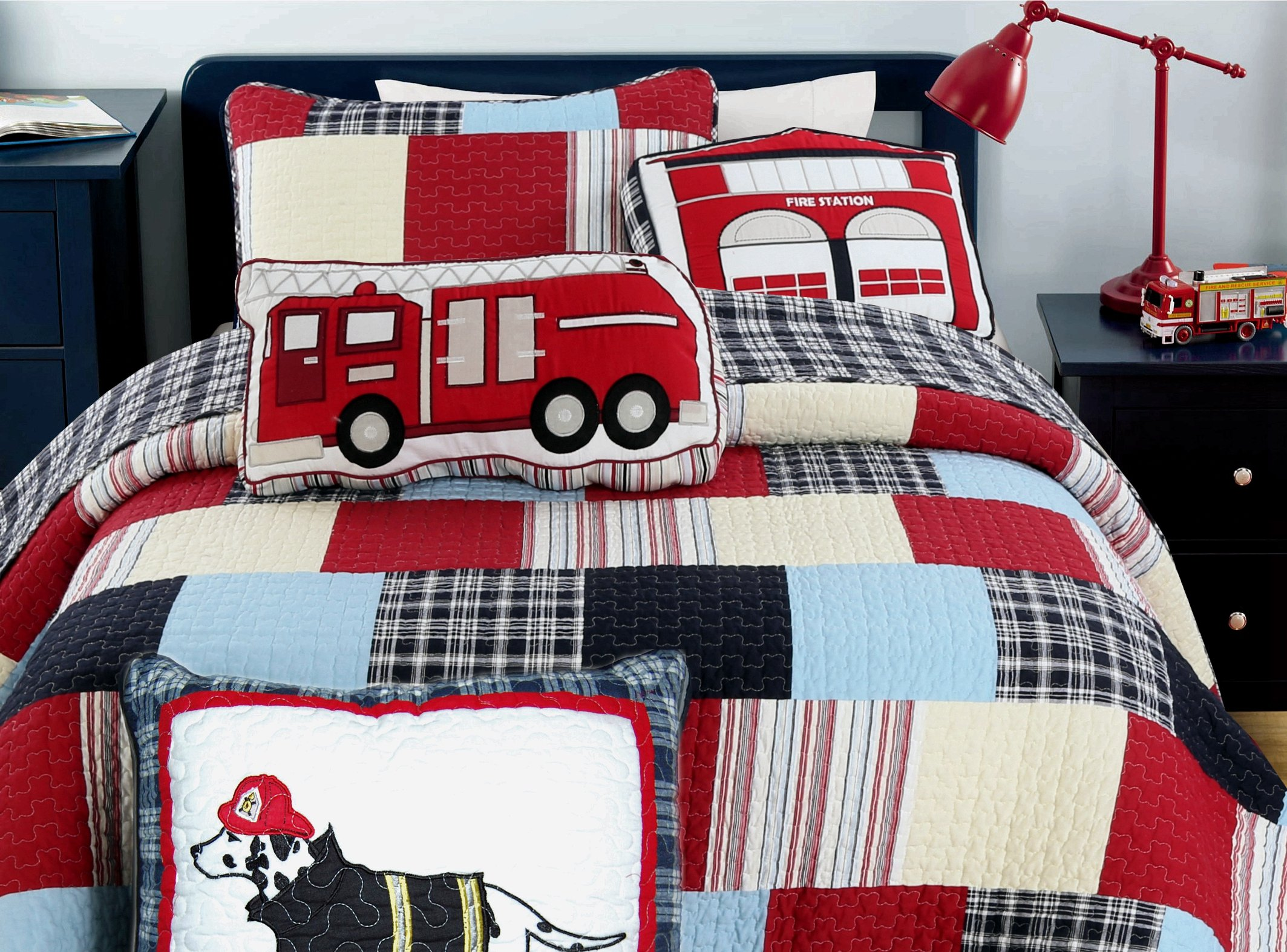 Cozy Line Home Fashion Cars Patchwork Quilt Bedding Set for Boy, 100% COTTON Navy/Blue/Red Grid Stripe Printed Reversible Bedspread Coverlet,Gifts for Kids(Thomas Firetruck Patchwork, Queen - 3 piece)