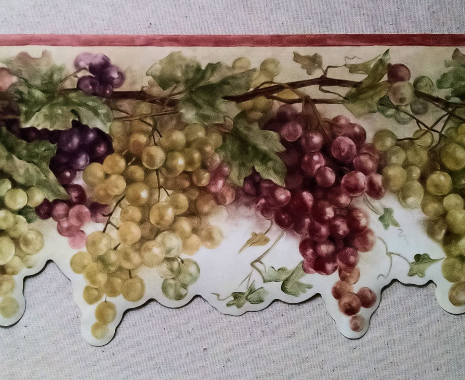 Wallpaper Border Tuscan Grapevine Rust Red Purple & Green Grapes on ...