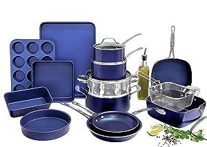 Granitestone Blue 20 Piece Pots and Pans Set