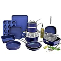 Granitestone Blue 20 Piece Pots and Pans Set, Complete Cookware & Bakeware Set with Ultra Nonstick Durable Mineral & Diamond Surface, Stainless Stay Cool Handles Oven & Dishwasher Safe, 100% PFOA Free