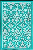Fab Hab Reversible Outdoor/Indoor Rug | Perfect for Decking, Garden, Patio | Mold, Mildew, UV & Stain Resistant | Venice - Cream & Turquoise | 120 cm x 180 cm
