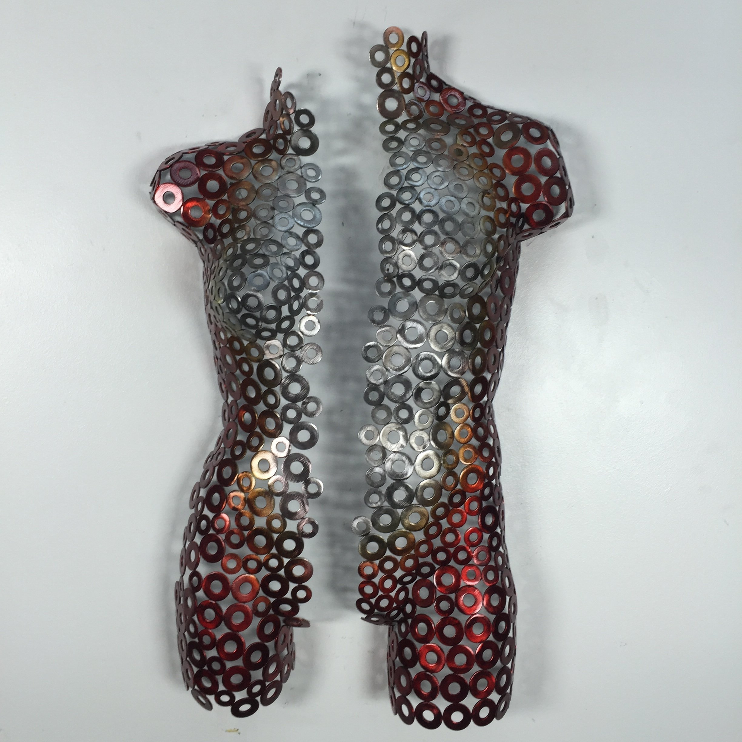 Metal wall art torso abstract sculpture silver red garden modern by Holly Lentz