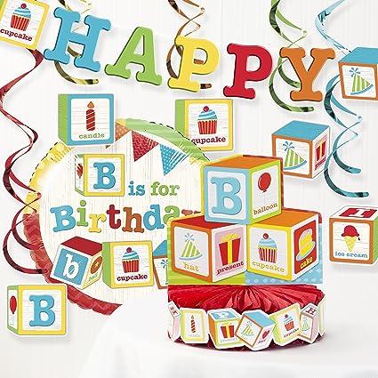 Amazon Com Creative Converting Abc Blocks Birthday Party