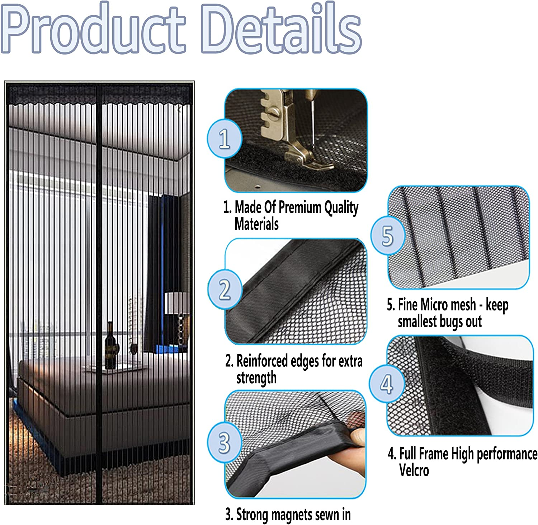 """Écran magnétique porte durable en fibre de verre Maille Rideau Full Frame 34/""""x82/"""" Noir"""