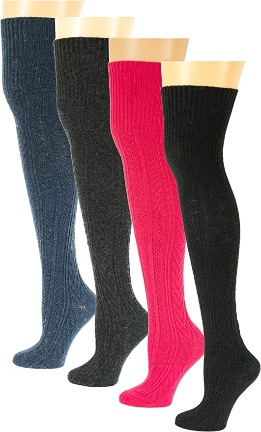 3 Pairs Women 80/% Wool Cashmere Thigh-High Super Warm Solid Over Knee Boot Socks