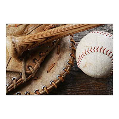 Old Used Baseball, Baseball Glove, and Baseball Bat Photography A-89896 (Premium 1000 Piece Jigsaw Puzzle for Adults, 20x30, Made in USA!): Toys & Games