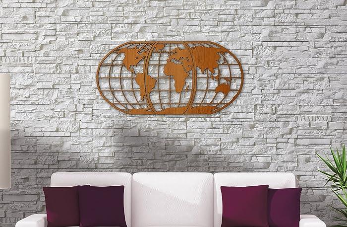 world map art 3d woodcut huge wood globe wall hanging huge 3d earth world map - World Map Decor