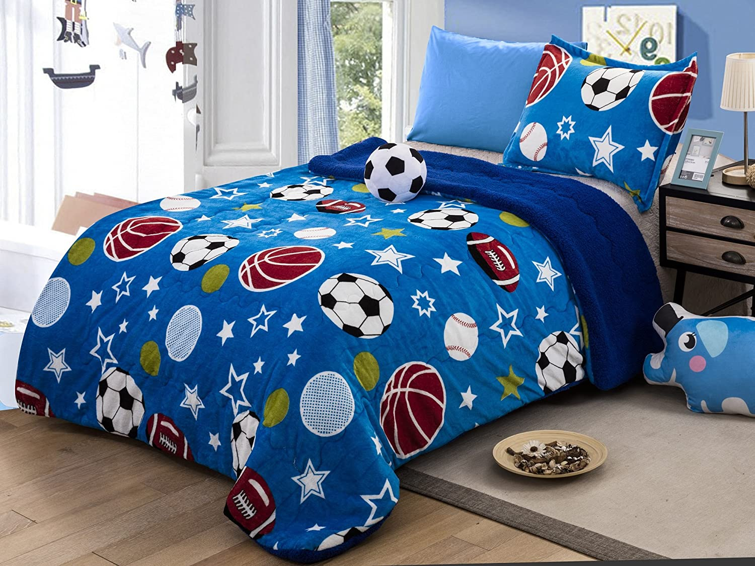 All American Collection New Super Soft and Warm 3 Piece Borrego/Sherpa Blanket with Pillow Sham and Cushion (Twin, Soccer Ball)