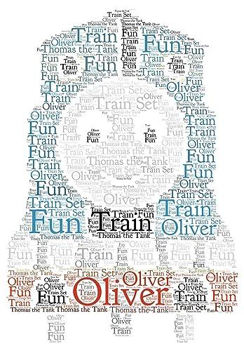 Personalised Word Art Print Children\'s Train son family birthday ...