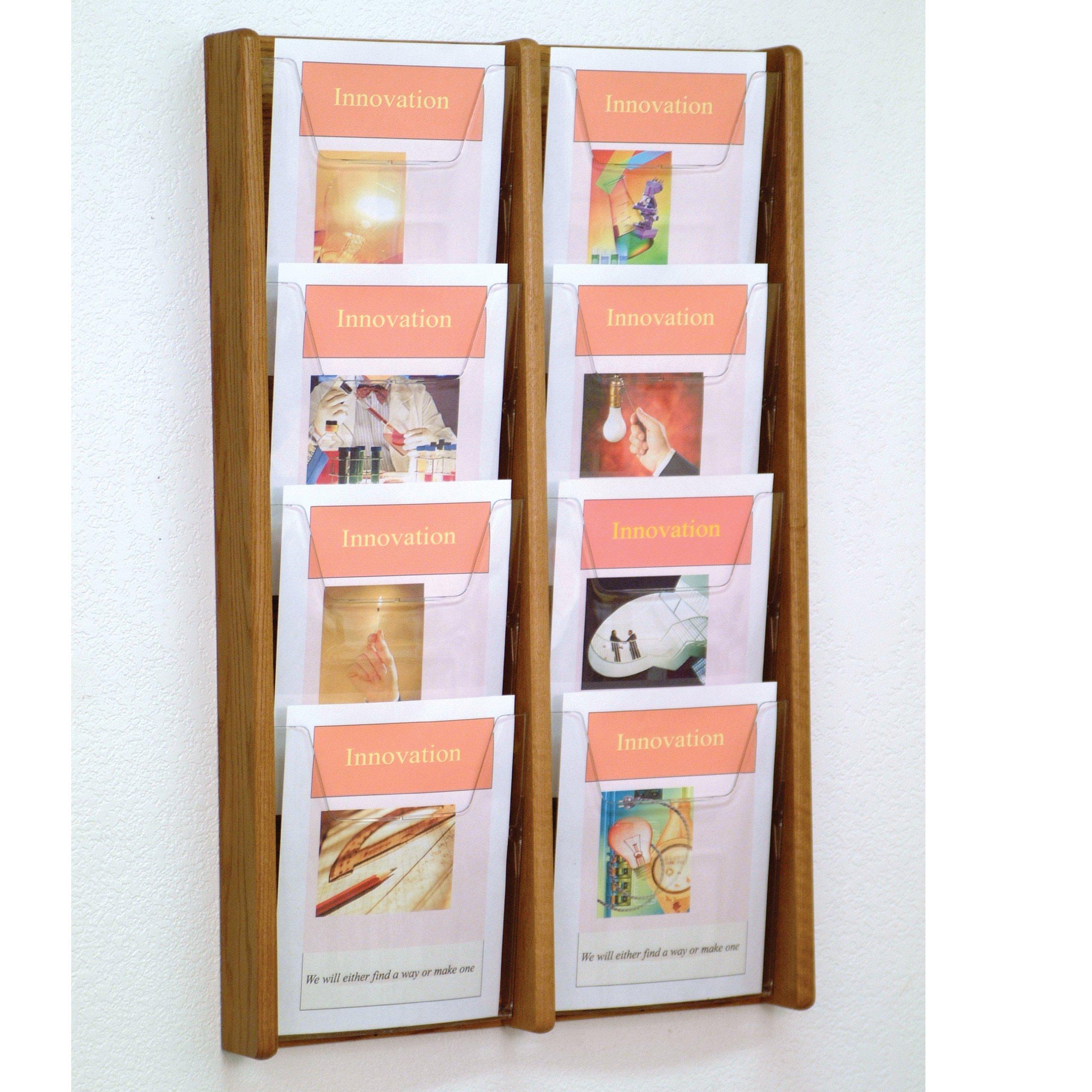DMD Magazine Rack, Literature Wall Display, 8 Pocket Solid Oak and Acrylic, Medium Oak Wood Finish