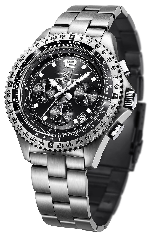 FIREFOX FIGHTER FFS05-102 sunray schwarz Chronograph Herrenuhr Armbanduhr massiv Edelstahl Sicherheitsfaltschlie