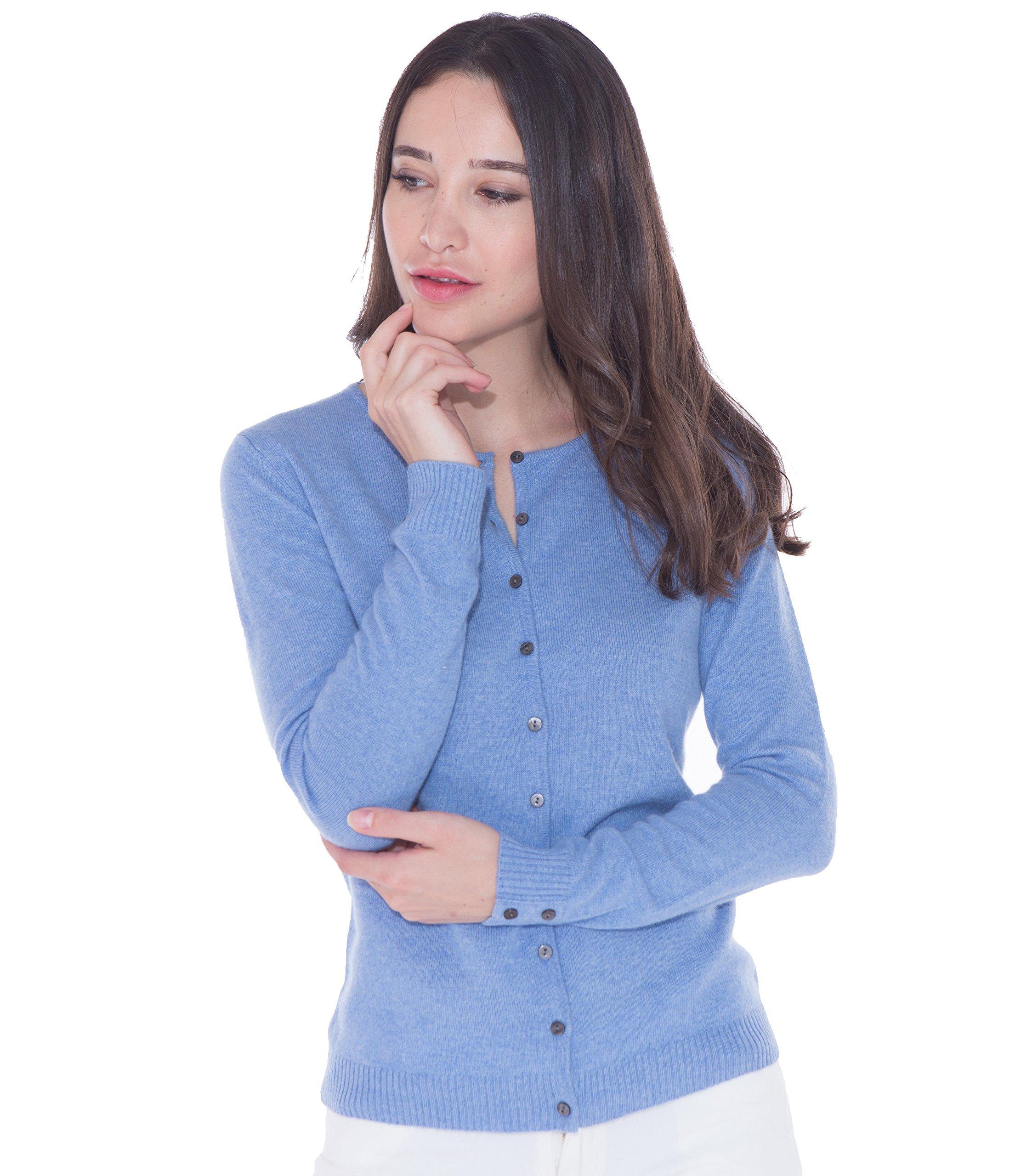 Basic Slim Round Neck Long Sleeve 100% Cashmere Cardigan Sweater from cashmere 4 U (Medium, Azure)