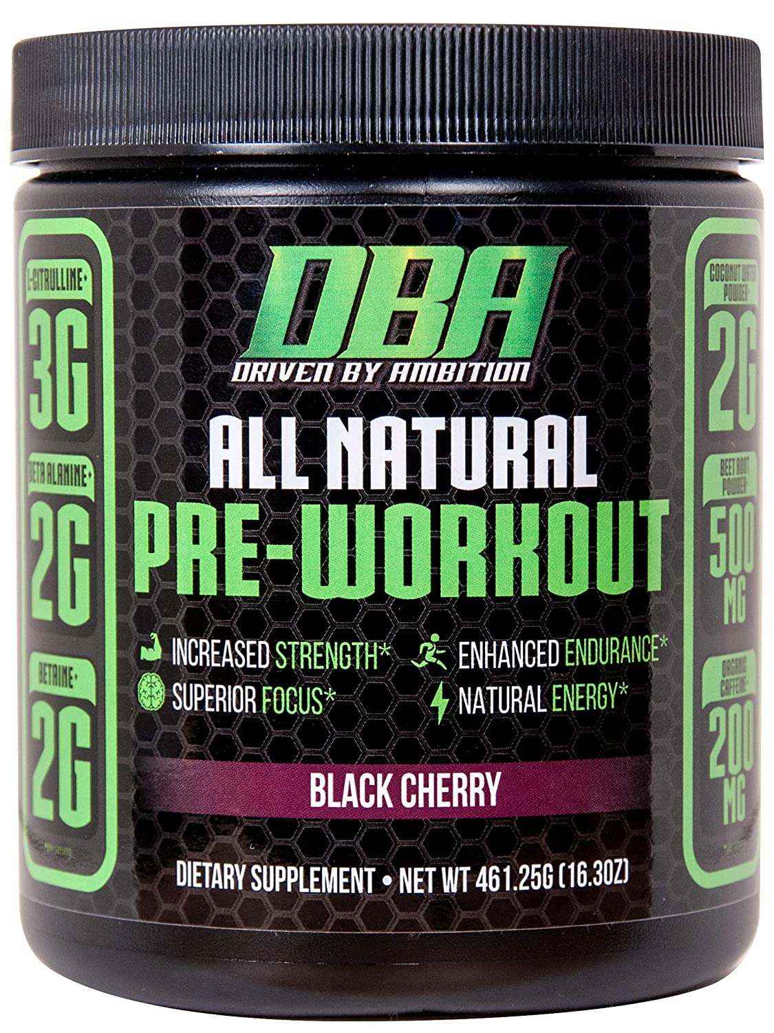 DBA Performance All Natural Pre Workout Enhanced Strength, Focus, Hydration, Energy. Vegan Friendly, No Artificial Ingredients, Non-GMO 25 Servings Black Cherry