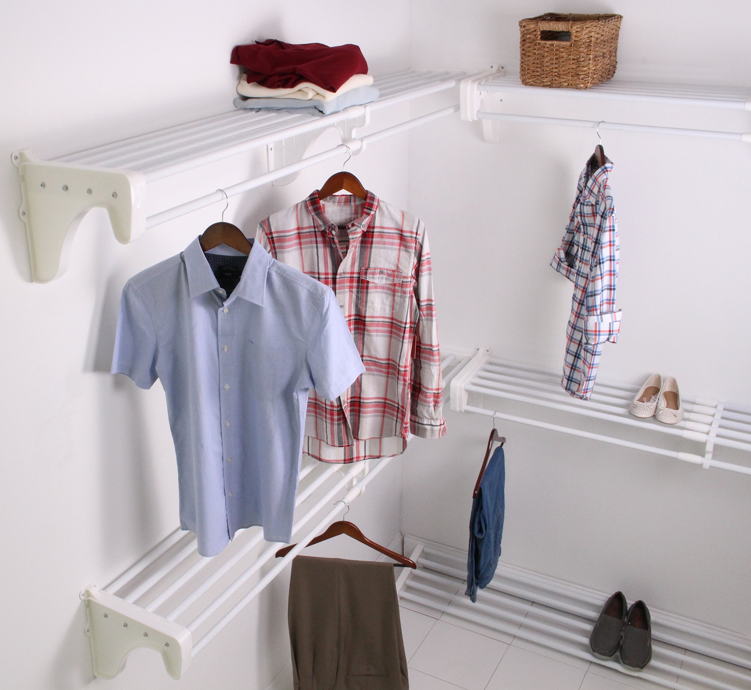 EZ Shelf EZS-K-SCRW72-5-4 Walk-in Closet Kit Hanging and Shelf Space, White by EZ Shelf