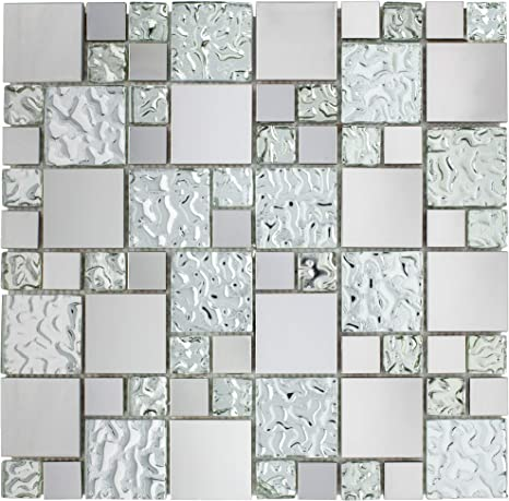 Amazon Com Tbssg 01 Modern Cobble Stainless Steel With Silver Glass Mosaic Tile Kitchen And Bath Backsplash Wall Tile 10 Sheets Home Kitchen
