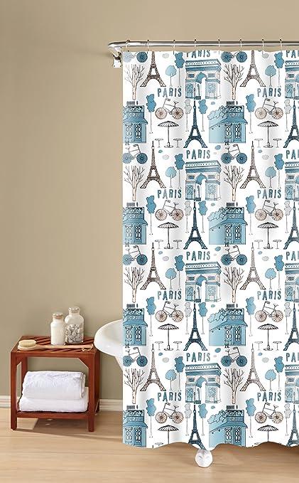 Amazon Inspired Surroundings Paris Print Shower Curtain 72 X