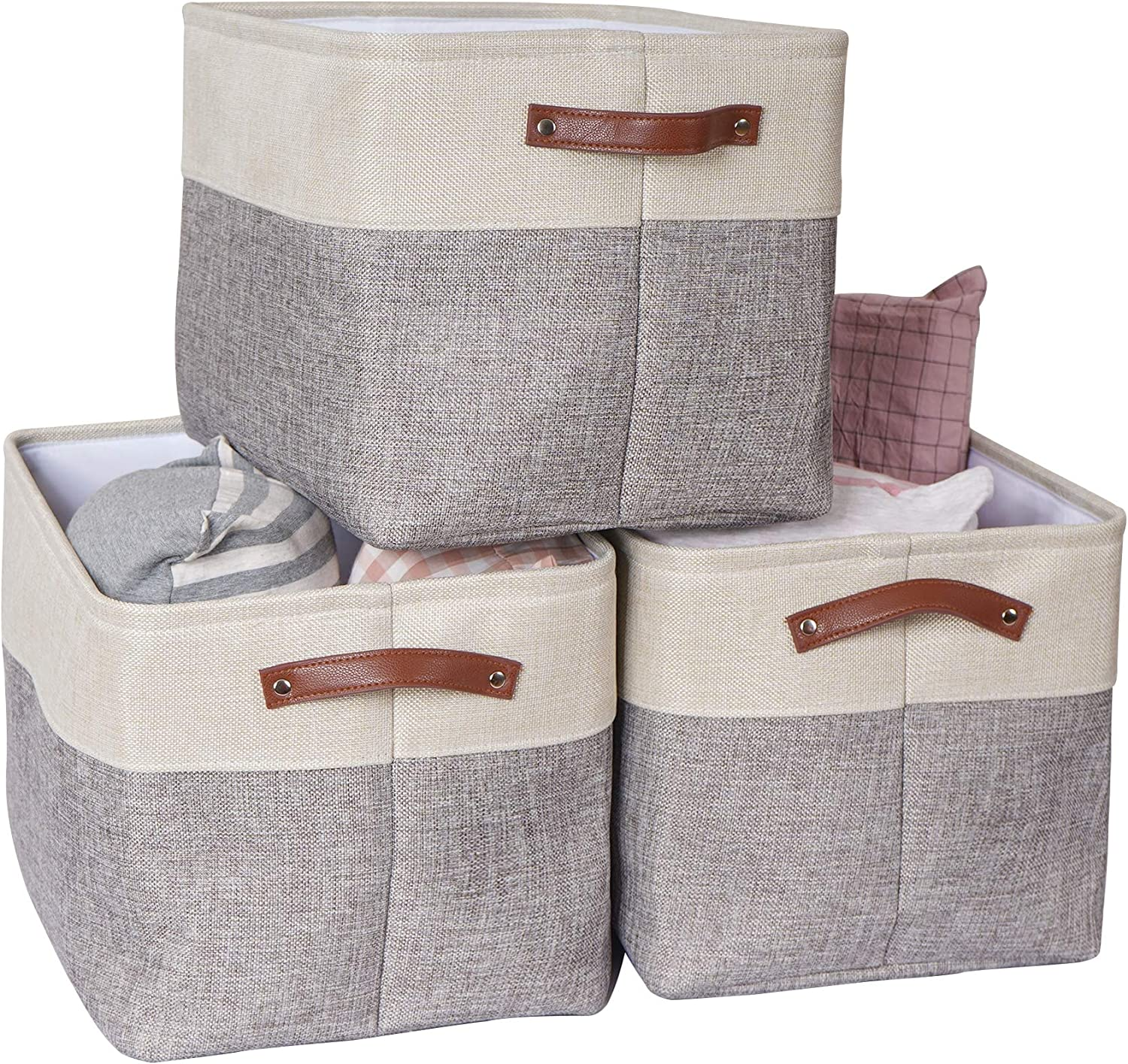 VK Living Large Foldable Storage Bin | Collapsible Sturdy Cationic Fabric Storage Basket Cube W/Handles for Organizing Shelf Nursery Home Closet & Office - Grey and White 3 Pack 15 x 11 x 9.6