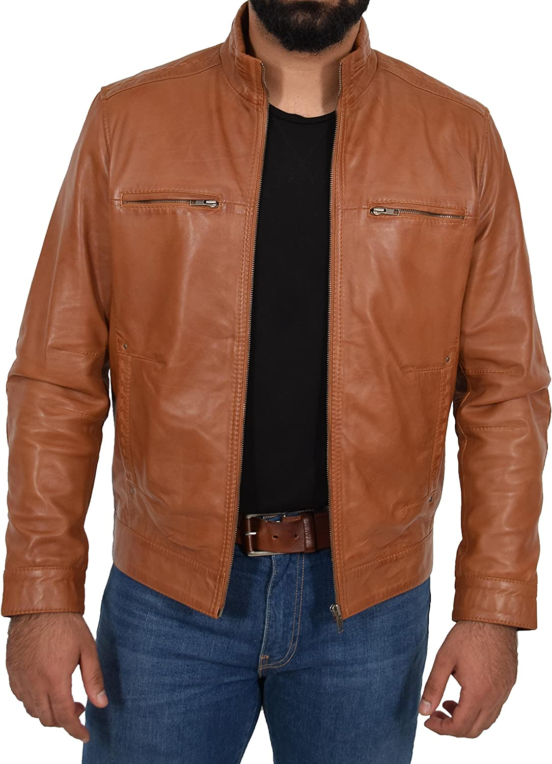 Mens Real Soft Leather Casual Biker Style Slim Fit Jacket Tony Tan