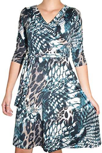 Avital Reptile Print Belted Surplice Day Dress