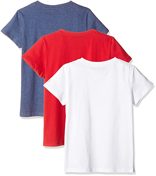 Kid Nation Kids' 3-Pack Short-Sleeve Crew-Neck Cotton Jersey Tee