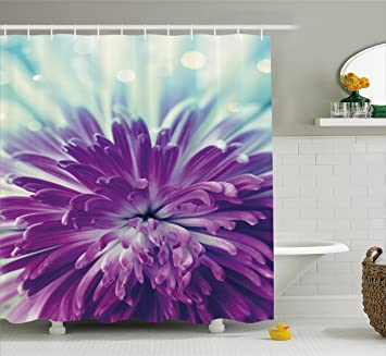 Dahlia Shower Curtain By Ambesonne Radiant Violet Colored Blooming Close Up With Petals
