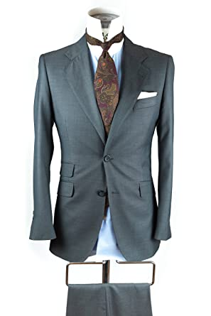FALCON BESPOKE Traje para hombre de dos piezas, chaqueta y pantalón. Doble bolsillo, color gris marengo