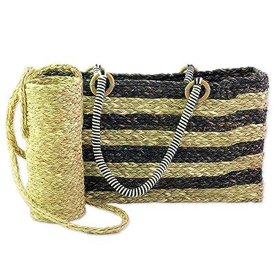Novica Natural fibers tote bag and bottle holder set, Heat Wave
