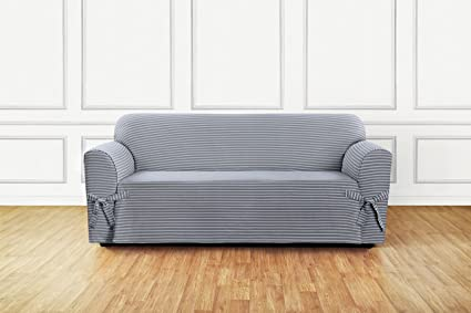 Sure Fit Horizontal Club Stripe 1 Piece   Sofa Slipcover   Limestone Gray  (SF46205
