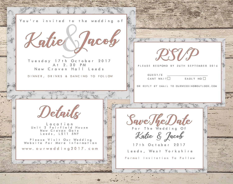 Wedding Invitations. Personalised Wedding Invitations. Rose Gold ...