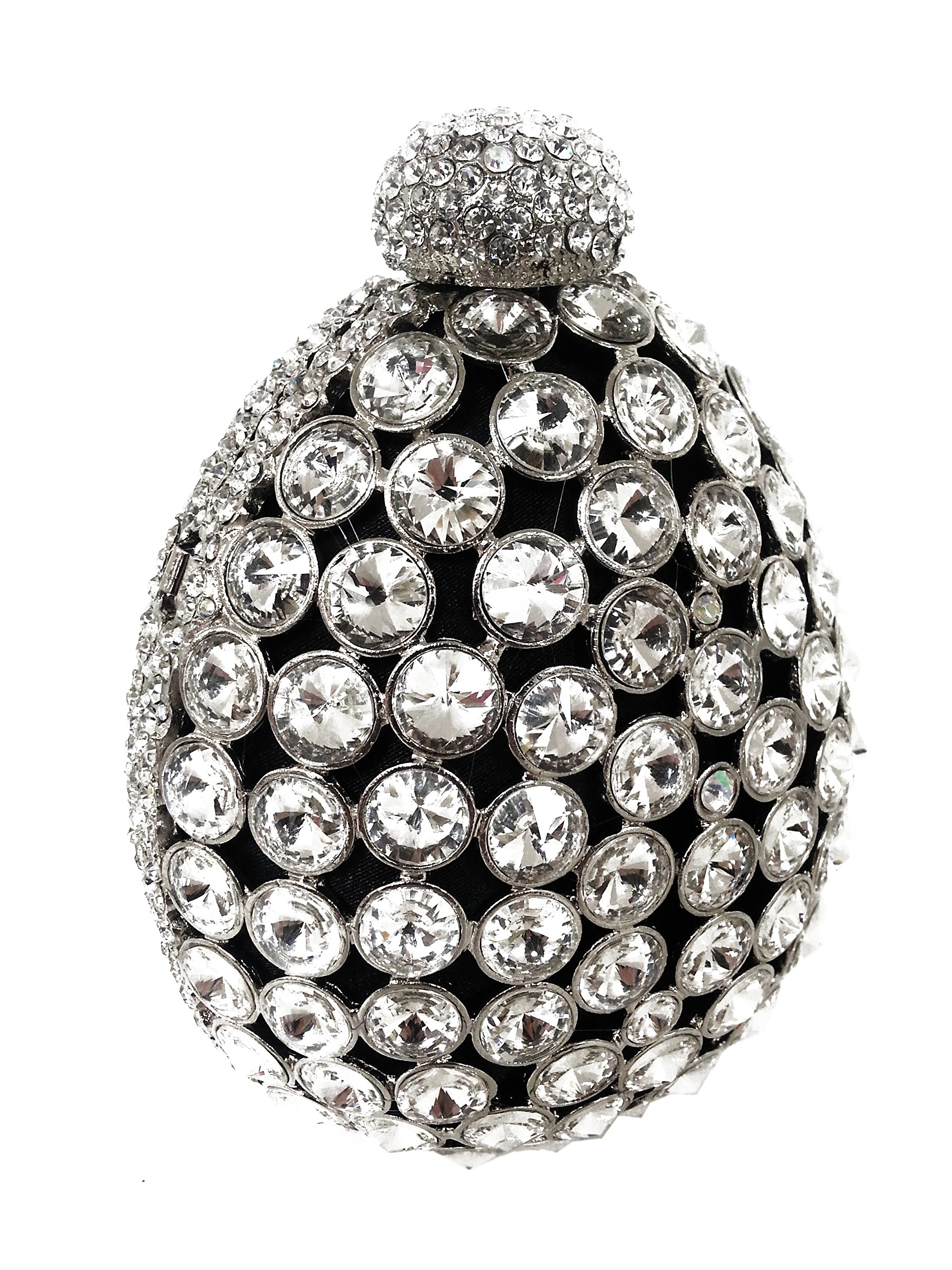 Rhinestone Antique-Style Clutch Clear Silver Purse - CLEARANCE by Mr. Song Millinery