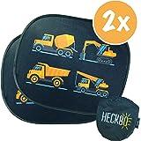 HECKBO® Parasol autoadhesivo para coche - protección solar para niños (2 piezas) | Vehículos construcción | protección solar para ventanillas de coche | 44x36cm | parasol para coche con bolsa incluida
