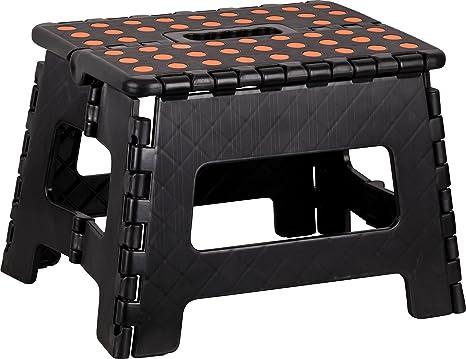 Kigima sgabello pieghevole plastica small 29x22x22cm nero: amazon.it