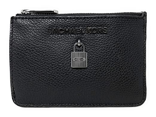 434419280d15 Michael Kors Adele Small Top Zip Coin Pouch ID Card Case Wallet (Black)
